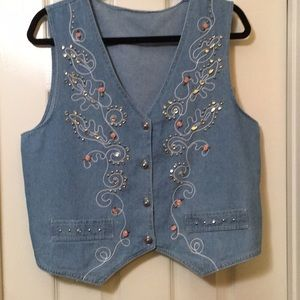 Jackets & Blazers - Jean vest with jeweled front